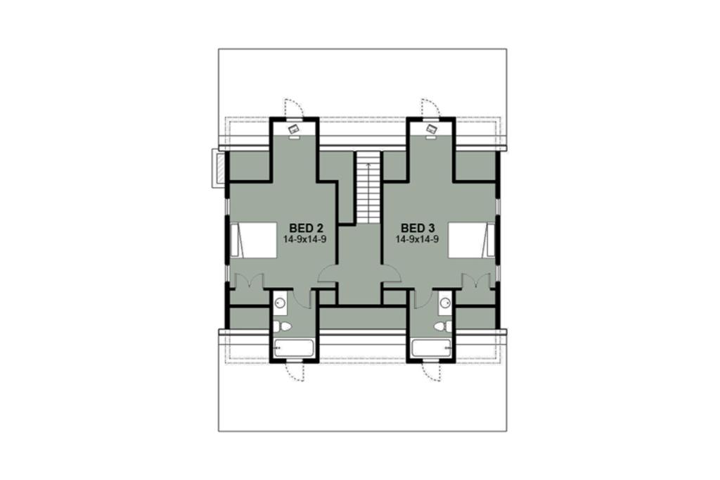 Planos de casa de dos pisos y tres baños