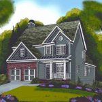 Planos de casa de dos plantas, un garaje y tres baños