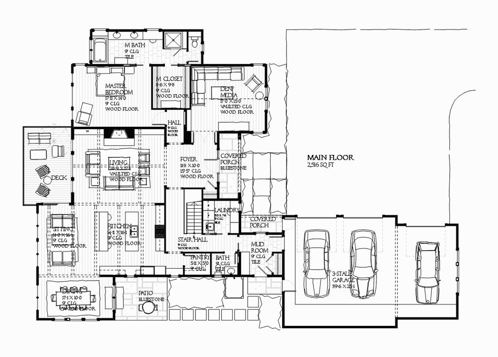 Planos de casa de dos plantas y tres baños