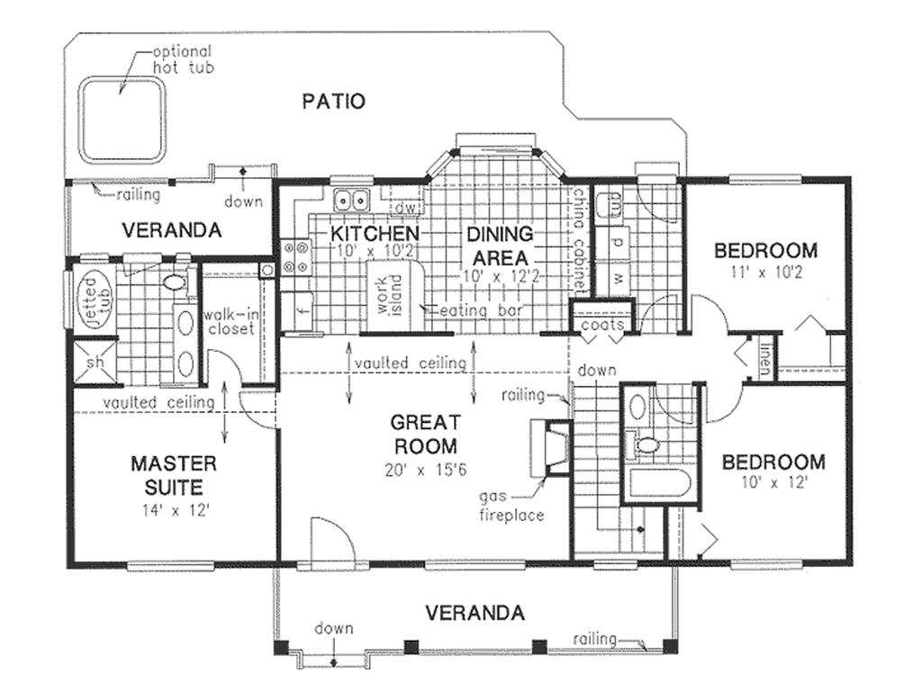 Planos de casa familiar con tres dormitorios