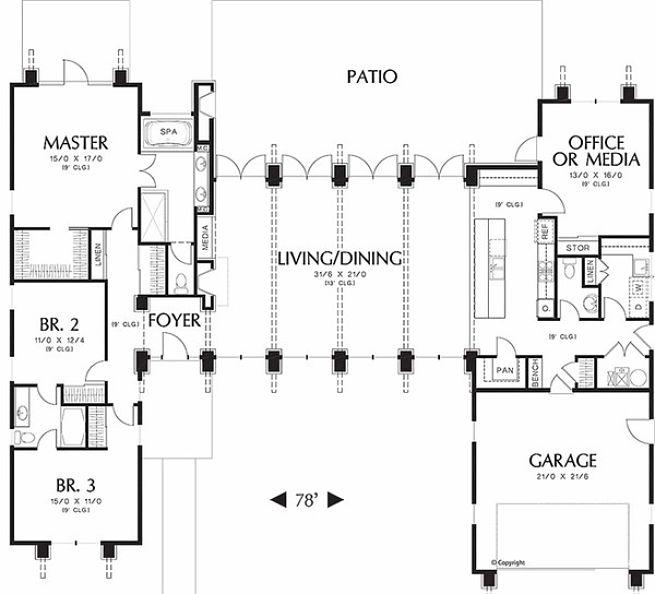 Planos de casa moderna con piscina frontal 2