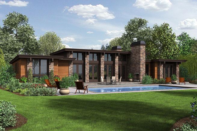 Planos de casa moderna con piscina frontal
