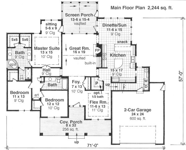 planos de casa rural con tres dormitorios y dos baos