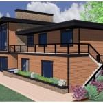 Plano de casa moderna de 5 dormitorios