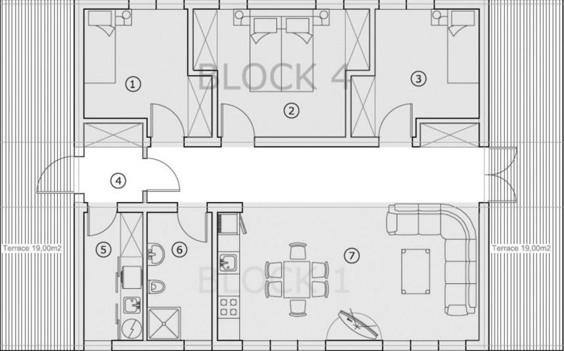 casa pequeña de 3 dormitorios