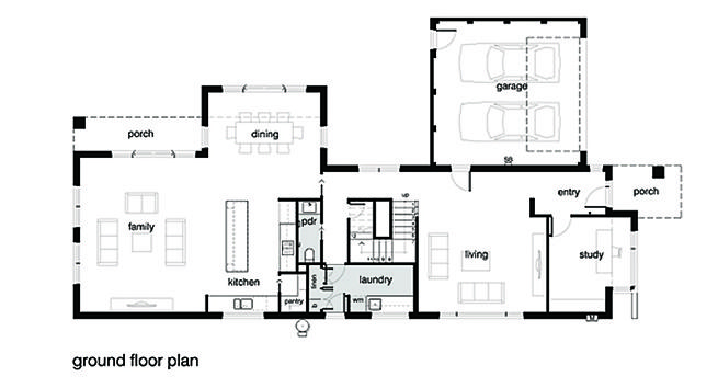 planos de una casa moderna de 2 pisos y balcón Primer piso