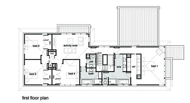 planos de una casa moderna de 2 pisos y balcón Segundo piso