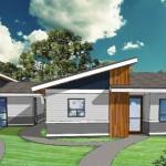 Plano de casa amplia, moderna y de 2 dormitorios