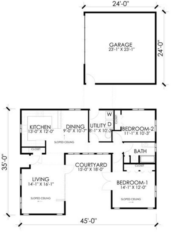 Plano de casa amplia, moderna y de 2 dormitorios con 120 metros
