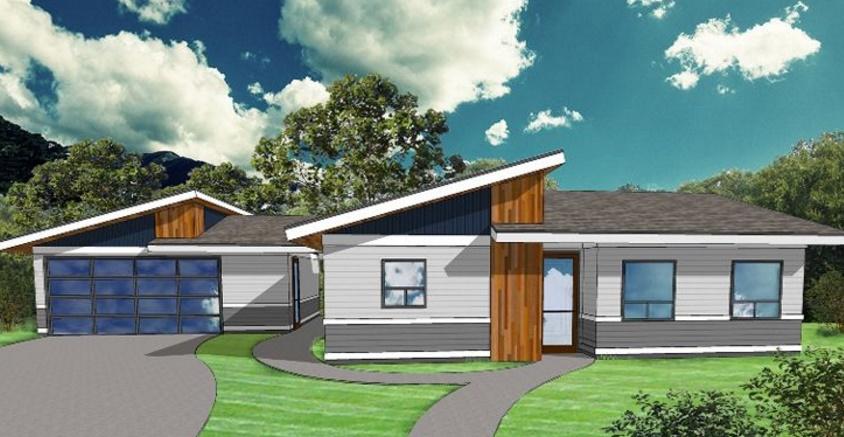 Plano de casa de un piso y 2 dormitorios planos de casas for Plano casa moderna 4 habitaciones