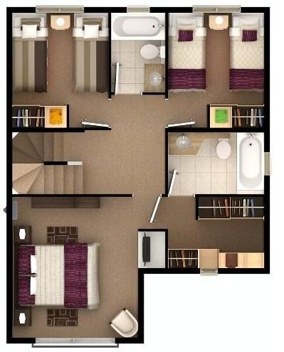 Plano de casa bonita de 3 pisos con sala de juegos