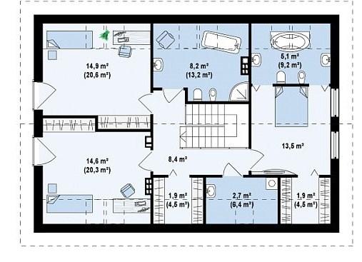 Plano de casa de 2 pisos y 3 dormitorios con medidas en metros