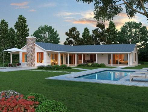 Plano de casa en l con 3 dormitorios for Fotos de casas de campo con piscina