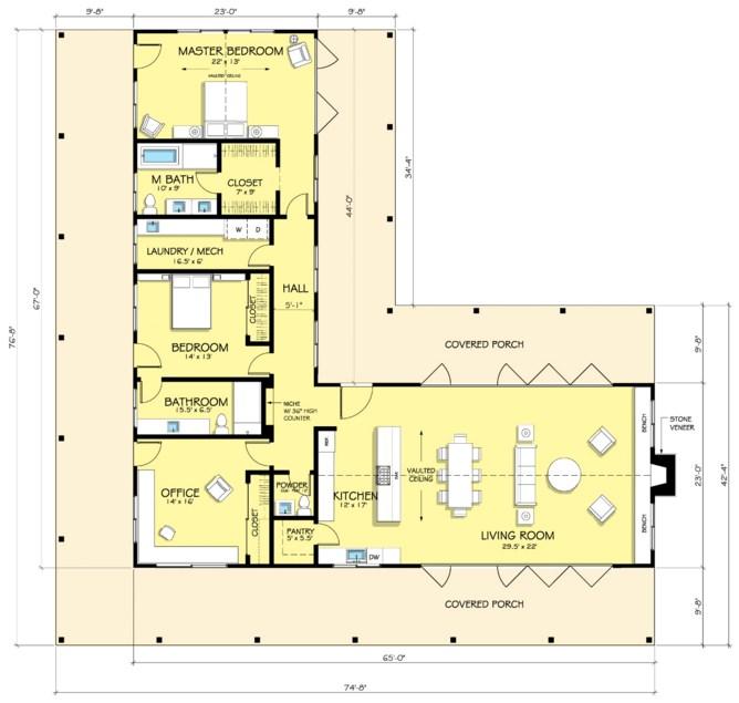 Plano de casa en l con 3 dormitorios for Planos de casas de campo de 3 dormitorios