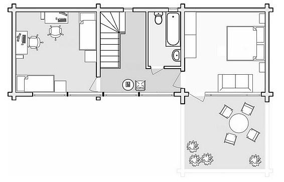 Plano de casa moderna con cochera pasante