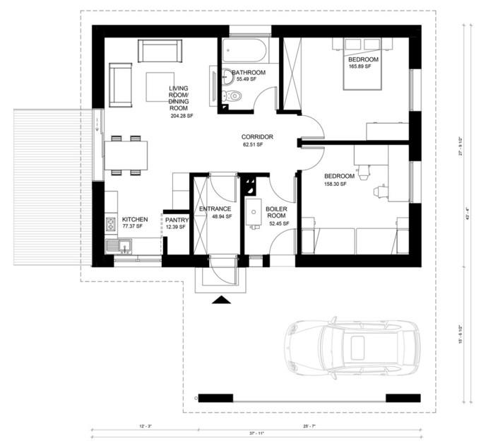 Plano de casa moderna de 11 x 14 m