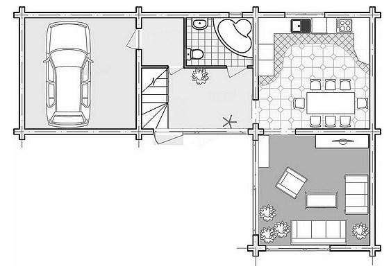 Plano de casa moderna de 2 pisos con cochera pasante
