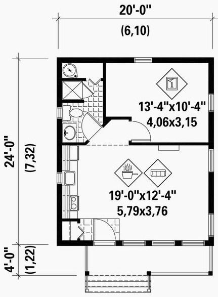 Plano de casa moderna de 6x7m