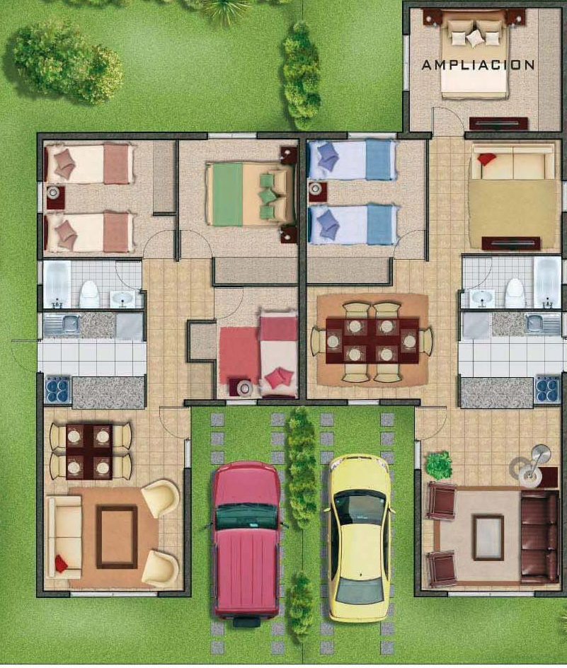 Un piso planos de casas modernas for Planos para casas de dos pisos modernas