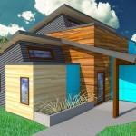 Plano de casa moderna de forma irregular