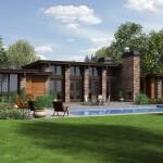 Plano de casa de campo moderna con 3 cuartos
