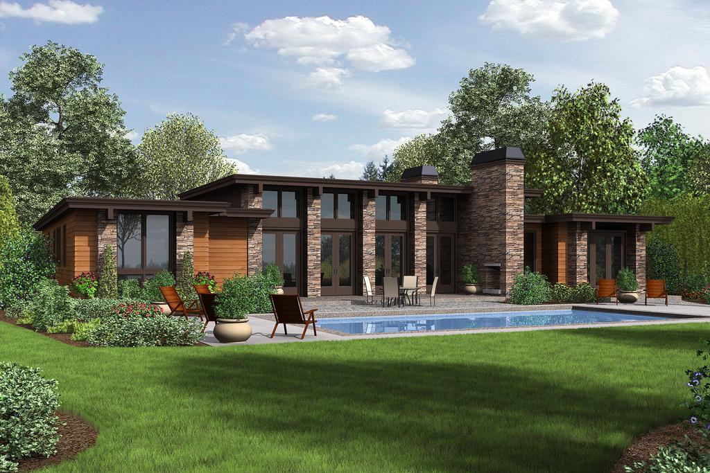 Plano de casa de campo moderna con 3 cuartos for Planos de casas de campo modernas