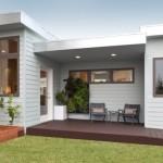 Plano de casa moderna con un dormitorio