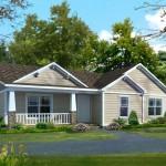 Plano de casa prefabricada de una planta con tres habitaciones