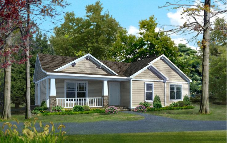 plano de casa prefabricada de una planta con 3 habitaciones