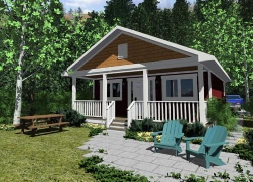 Plano de casa sencilla con un dormitorio for Casa de una planta sencilla