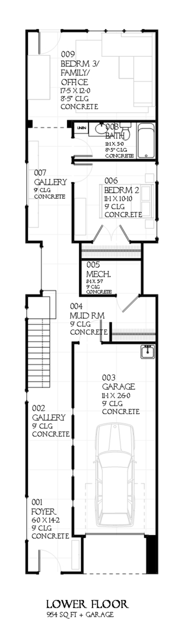 Plano de duplex grande planos de casas modernas for Duplex con garage