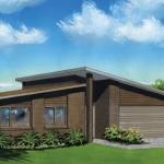 Plano de casa de 160 metros cuadrados con techos a diferentes alturas