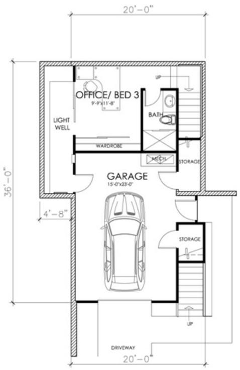 Plano de casa de 3 pisos con 2 dormitorios