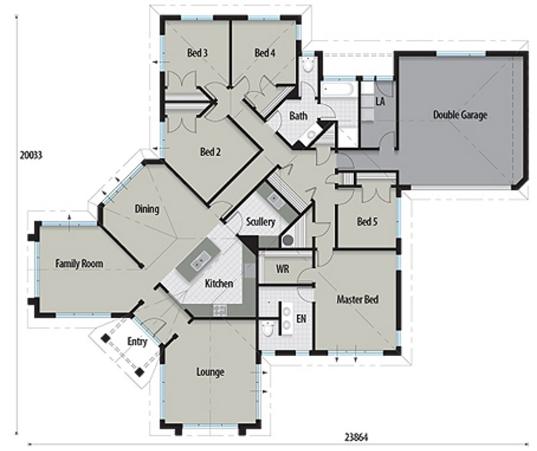 Plano de casa de 5 dormitorios con estilo moderno