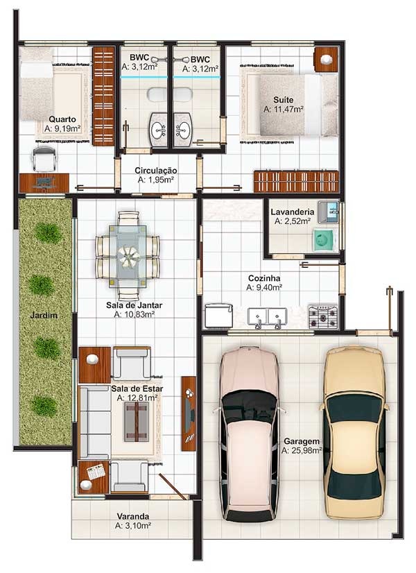 Plano de casa con dos dormitorios planos de casas modernas for Plano casa un piso