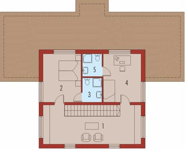 Plano de casa minimalista de 2 plantas