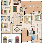 Plano de casa moderna de 4 dormitorios y 3 baños