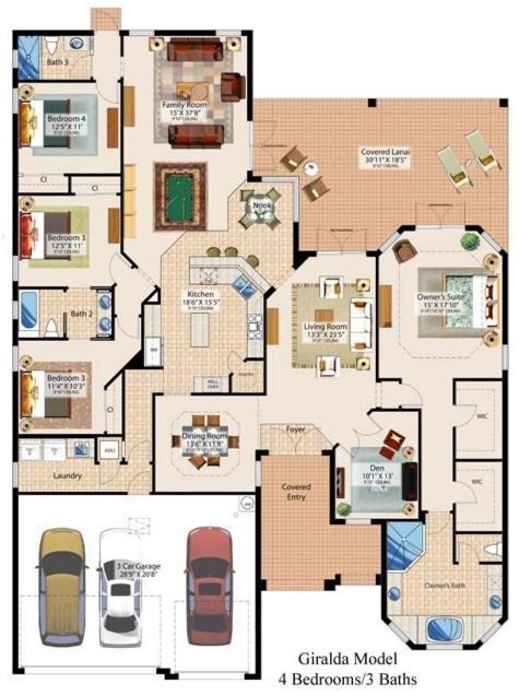 Plano de casa moderna de 4 dormitorios y 3 ba os for Planos de viviendas modernas