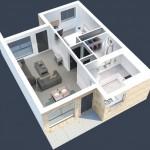 Plano de casa pequeña de 60m2