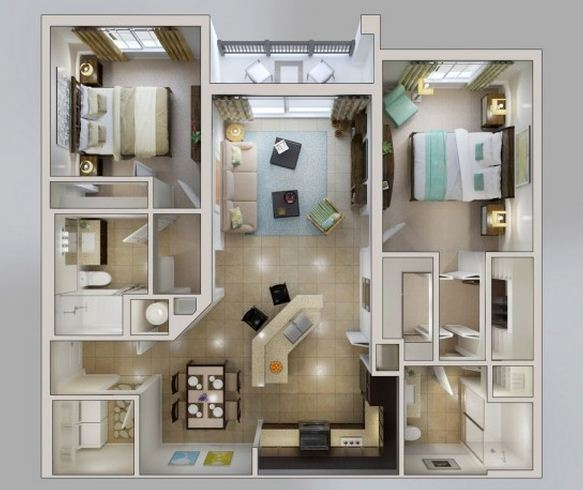 Plano de departamento moderno de 70m2