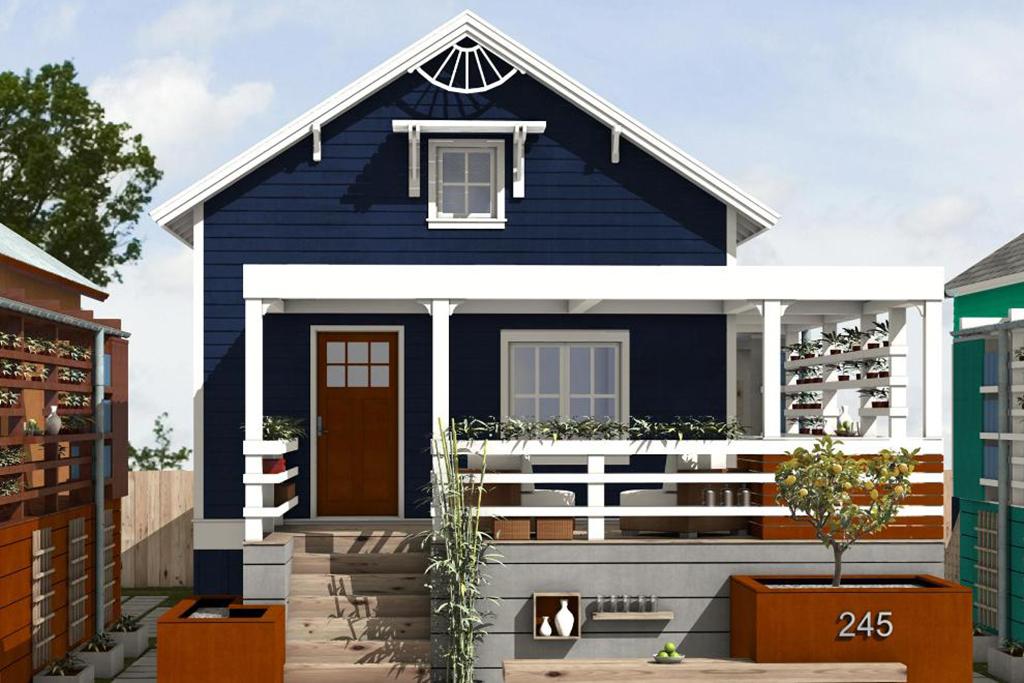 plano de cabaña sencilla con dos habitaciones