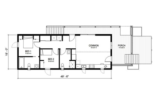 plano de cabaña sencilla con dos habitaciones2