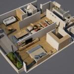 Departamento en 3D con 3 ambientes