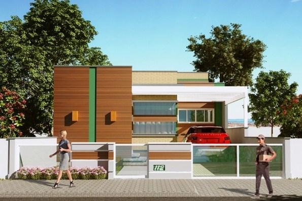 Diseño de casa con tres habitaciones y cochera