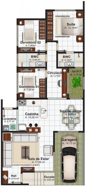 Diseño de casa con tres habitaciones