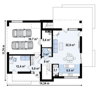 Diseño de casa minimalista de 2 plantas