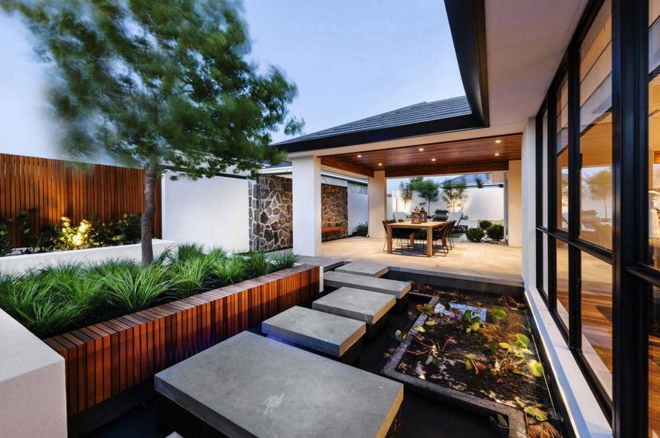 Plano de casa con estilo oriental moderna