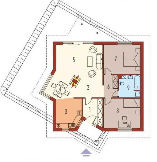 Plano de casa de 2 dormitorios con techo a 4 aguas