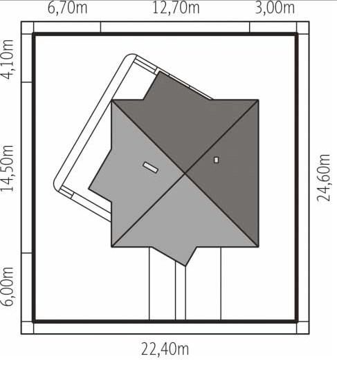 Plano de casa de dos dormitorios con techo a 4 aguas