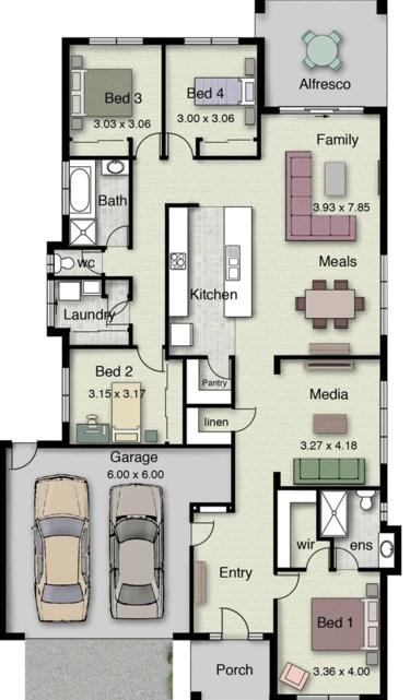 Plano de casa de un piso con 4 dormitorios for Plano casa un piso